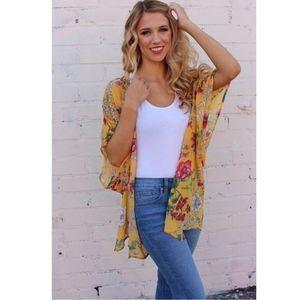 Sweaters - Women's Floral Print Chiffon Kimono Cardigan